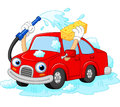 Cartoon funny car washing with water pipe and sponge