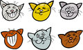 Cartoon funny cats heads set Royalty Free Stock Photography