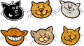 Cartoon funny cats heads set Royalty Free Stock Photo