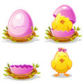 Cartoon funny chicken and pink egg in a nest