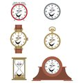 Cartoon funny clock face smiles or watch illustrationrtoon Royalty Free Stock Images