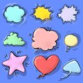 Cartoon funny comic empty speech bubbles set on colorful background. Vector illustration, childish design, pop art style