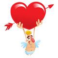 A cartoon funny cupid holding a huge heart over his head Stock Photos