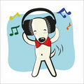Cartoon funny dog in big headphones Stock Images