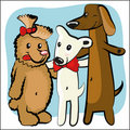 Cartoon funny dog with friends Stock Images
