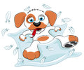 Cartoon funny dog on white background Royalty Free Stock Photography
