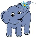 Cartoon funny elephant with a flower Royalty Free Stock Photography