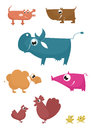 Cartoon funny farm animals Royalty Free Stock Images