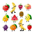 Cartoon funny fruits. Happy apple banana raspberry peach pear watermelon lemon strawberry faces. Fruit berry vector