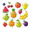 Cartoon funny fruits. Happy kiwi banana raspberry orange cherry with face. Summer fruit and berry vector characters