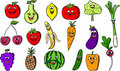 Cartoon funny fruits and vegetables,vector Royalty Free Stock Images