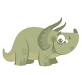 Cartoon funny green triceratops dinosaur centrosaurus smiling Stock Photos