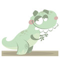Cartoon funny green tyrannosaurus rex dinosaur vector t reptile with teeth Royalty Free Stock Photo