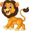 Cartoon Funny Lion Walking Iso...