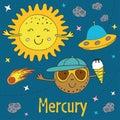 Cartoon funny Mercury with Sun Royalty Free Stock Photo