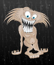 Cartoon funny monster illustration on black background Royalty Free Stock Image