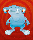 Cartoon funny monster on red background Stock Images