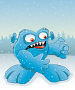 Cartoon funny monster on winter background Stock Photo