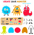 Cartoon funny monsters creation kit. Create your own monster set. Vector illustration.
