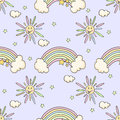 Cartoon funny pattern with sun, rainbow, star. Royalty Free Stock Photo