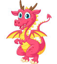 Cartoon funny pink dragon isolated on white background