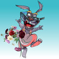 Cartoon funny rabbit skipping along happily with a bouquet of flowers