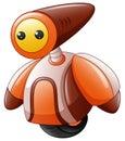 Cartoon funny robot with a wheel as legs