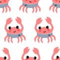 Cartoon funny sailor crab seamless pattern.