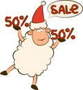 Cartoon funny sheep and sales. Royalty Free Stock Image