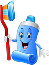 Cartoon funny toothpaste and toothbrush Royalty Free Stock Photo