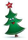 Cartoon funny vector christmas tree with red star Royalty Free Stock Photos