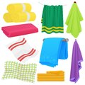 Cartoon funny vector towels. Cloth cotton towel for bath. Fabric towel for hygiene.