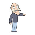 Cartoon furious old man hand drawn illustration in retro style vector available Stock Photography