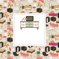 Cartoon furniture card Stock Images