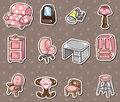 Cartoon furniture stickers Stock Image
