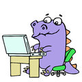 Cartoon gamer croc played on laptop. Vector illustration.