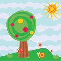 Cartoon garden with apple-tree Stock Images