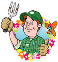 Cartoon Gardener logo Stock Photo