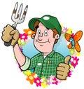 Cartoon Gardener logo Royalty Free Stock Photo