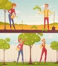 Cartoon Gardeners Illustration Set