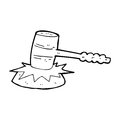 Cartoon gavel banging black and white line in retro style vector available Royalty Free Stock Photography