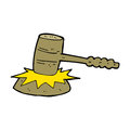 Cartoon gavel banging hand drawn illustration in retro style vector available Stock Photo