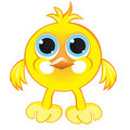 Cartoon gay yellow chicken Stock Images