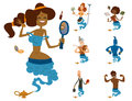 Cartoon genie character magic lamp vector illustration treasure aladdin miracle djinn coming out isolated legend set