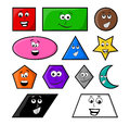 Cartoon geometric shapes with smile vector symbol icon design. Royalty Free Stock Photo