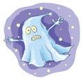 Cartoon ghost at night Royalty Free Stock Photo
