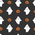 Cartoon ghost and pumpkin seamless halloween pattern background illustration Royalty Free Stock Photo