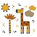 Cartoon giraffe , Palm trees, clouds and sun. Flat cute vector illustration of animals for kids Royalty Free Stock Photo
