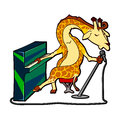 Cartoon giraffe at the piano