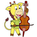 Cartoon giraffe playing a cello Stock Images